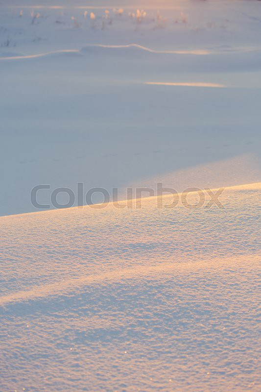 Winter landscape. Frosty weather, snowdrifts in the foreground, stock photo