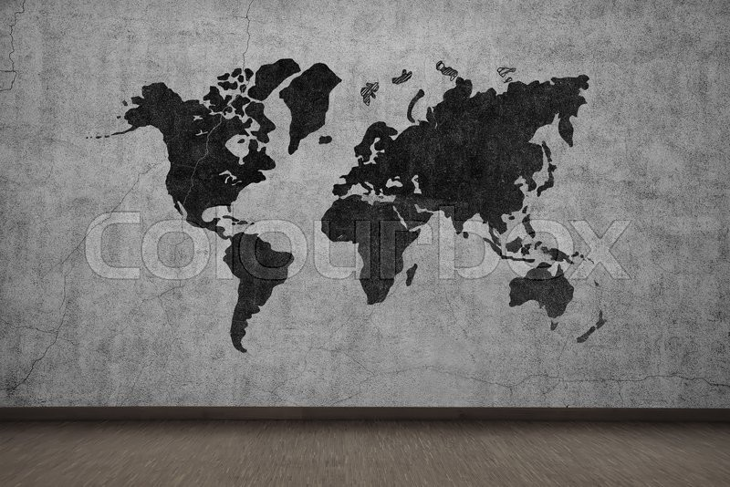 Drawing world map on gray concrete wall, stock photo