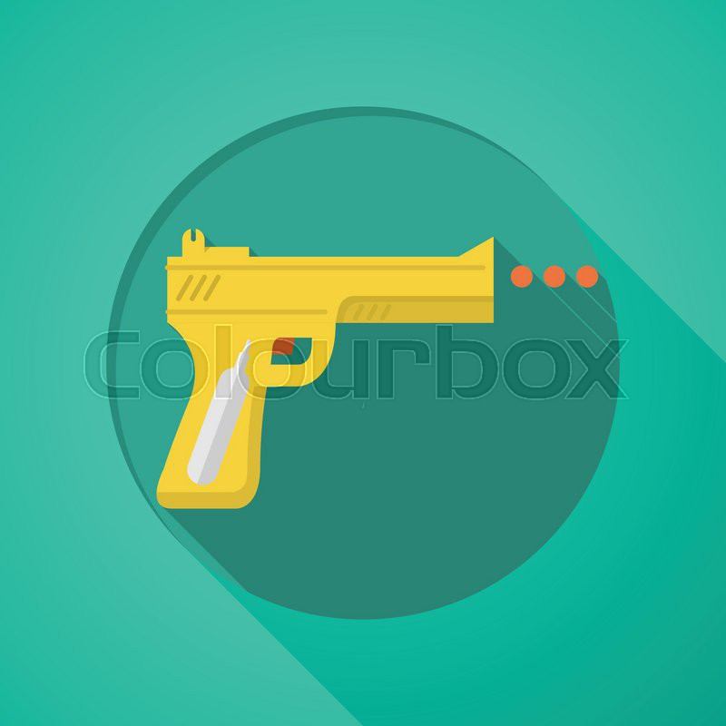 Yellow airgun with orange element flat icon for sport or self-defense on green background with long shadow design, vector