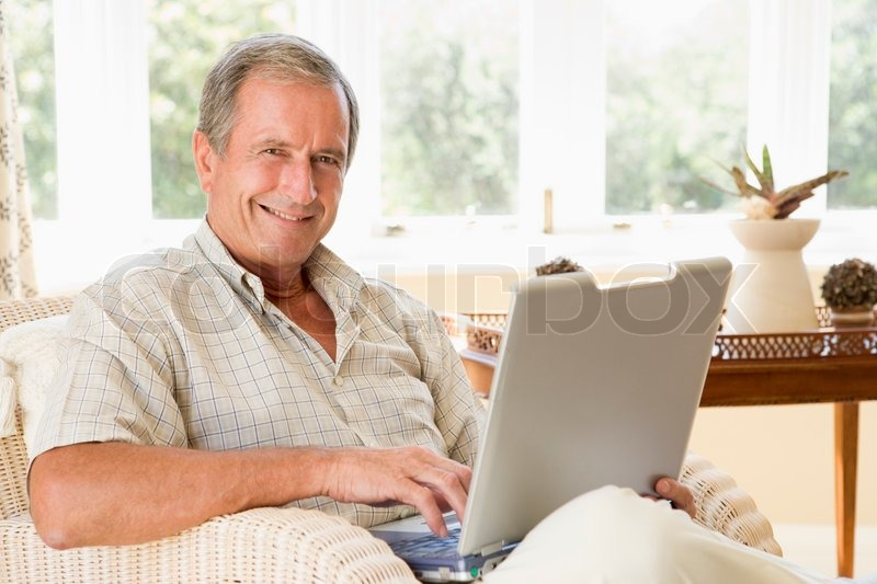 Stock image of 'senior, laptop, technology'