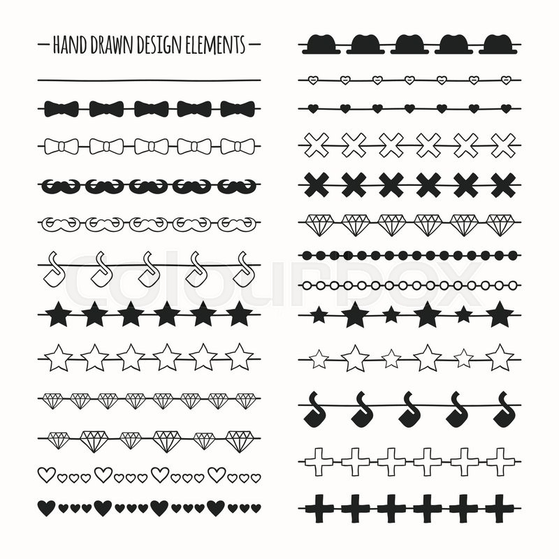 Hand Drawn Vector Line Border Set And Stock Vector Colourbox