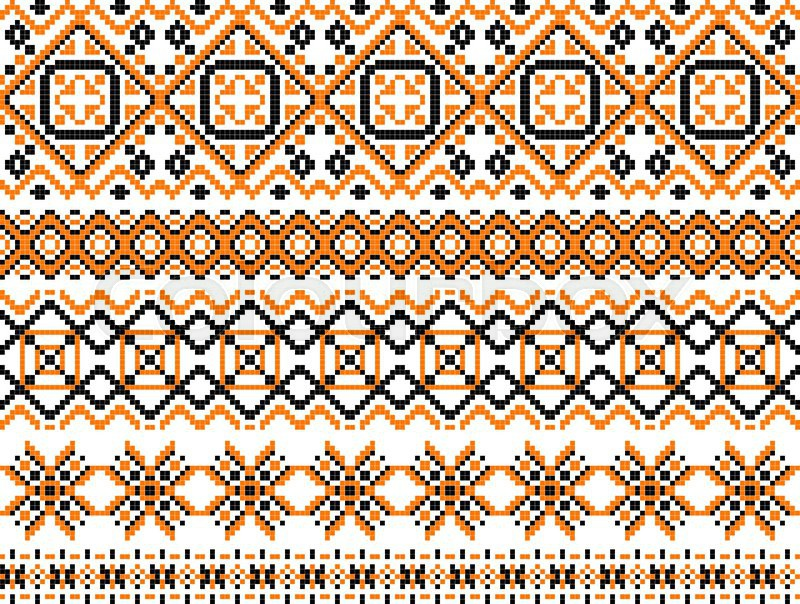 Geometric Embroidery Borders And Frames Set Composed Of Patterns Of