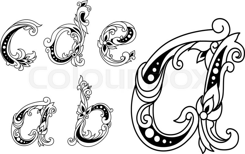 calligraphic floral lower case alphabet letters a b c d and e