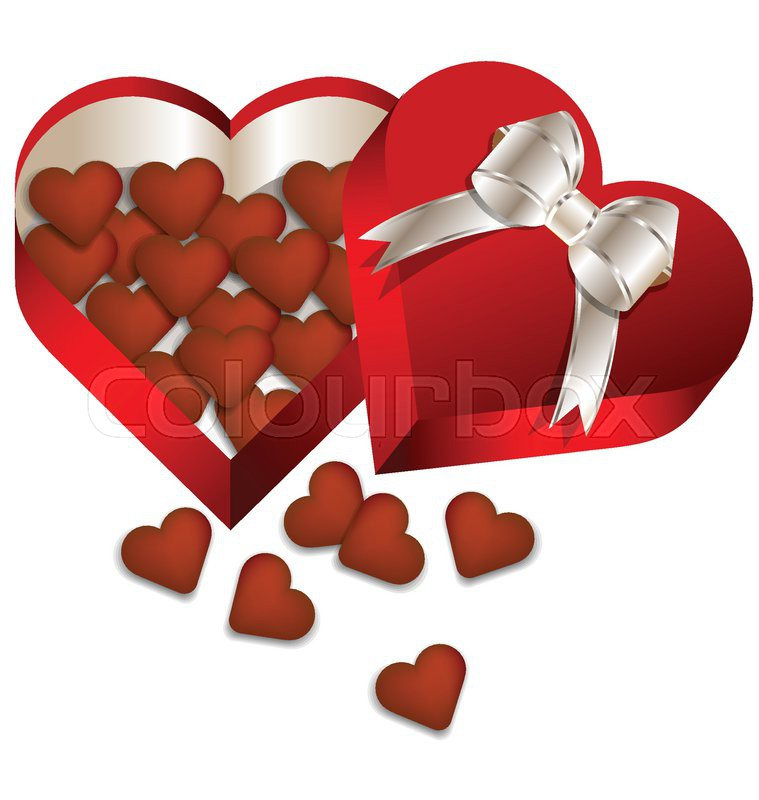 Chocolate Valentine S Day In Heart Gift Box Vector Stock Vector