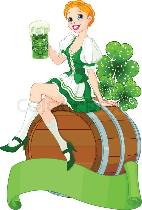 Irish girl sits on the keg and holds mug stock vector for Irish mail cart plans