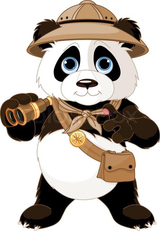 panda safari explorer with binoculars stock vector cheetah clipart pictures cheetah clipart for kids
