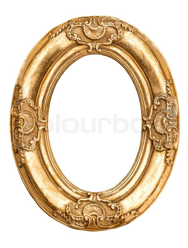 Golden oval frame isolated on white. Baroque style antique object ...