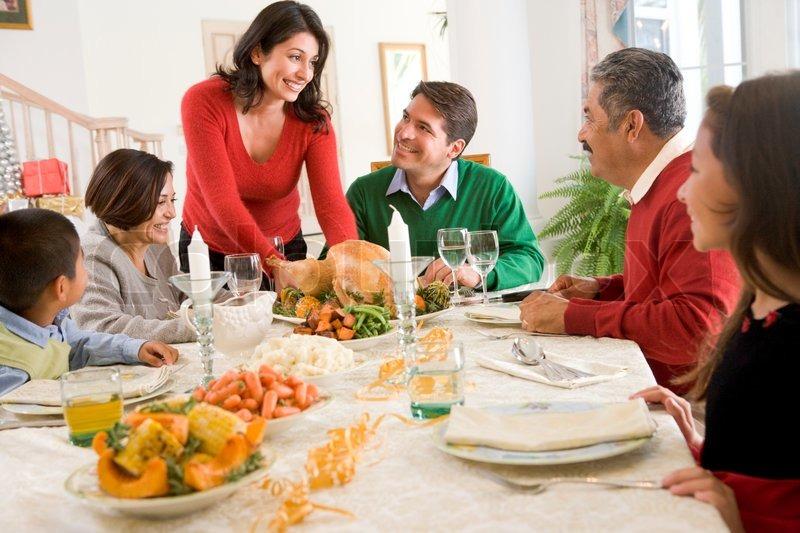 A Latin American Family Enjoying Christmas Dinner