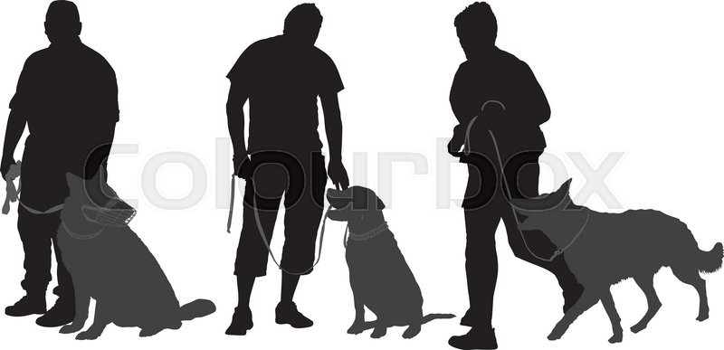 Man Walking His Dog Silhouette On White Background Stock