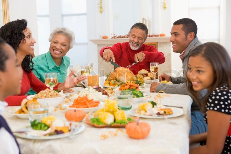 An African-American Family Enjoying Their Thanksgiving -3298