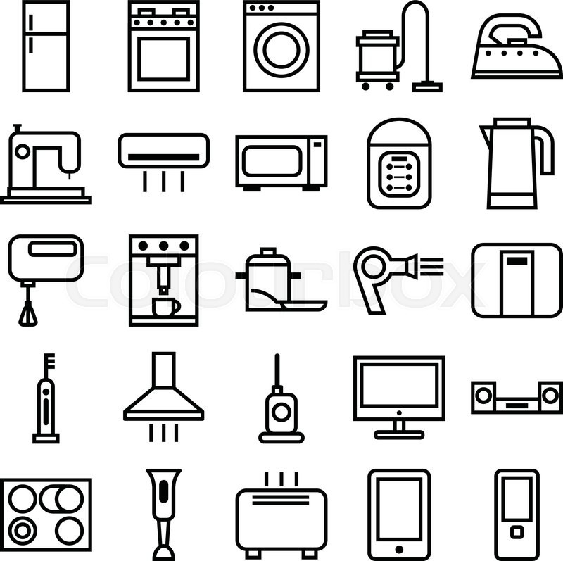 stock vector illustration of a set of linear icons various