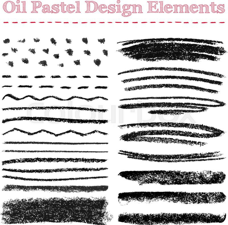 Set Of Oil Pastel Brush Strokes And Design Elements Grunge Vector