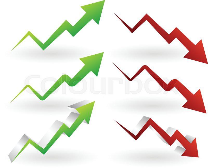 Vector Illustration Of Rising And Falling Arrows Increase Decrease