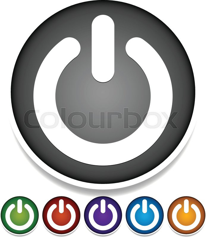 Vector Illustration Of Buttons With Power Symbols On Circles Start