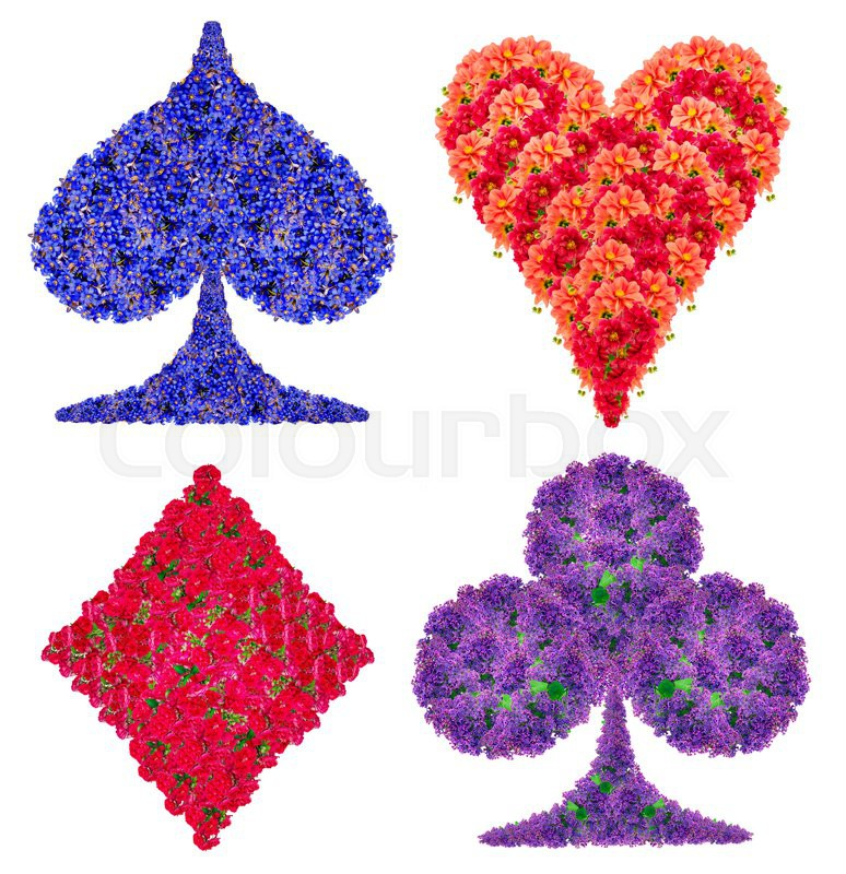 Playing card abstract suit symbols set made from red and for How are blue roses made