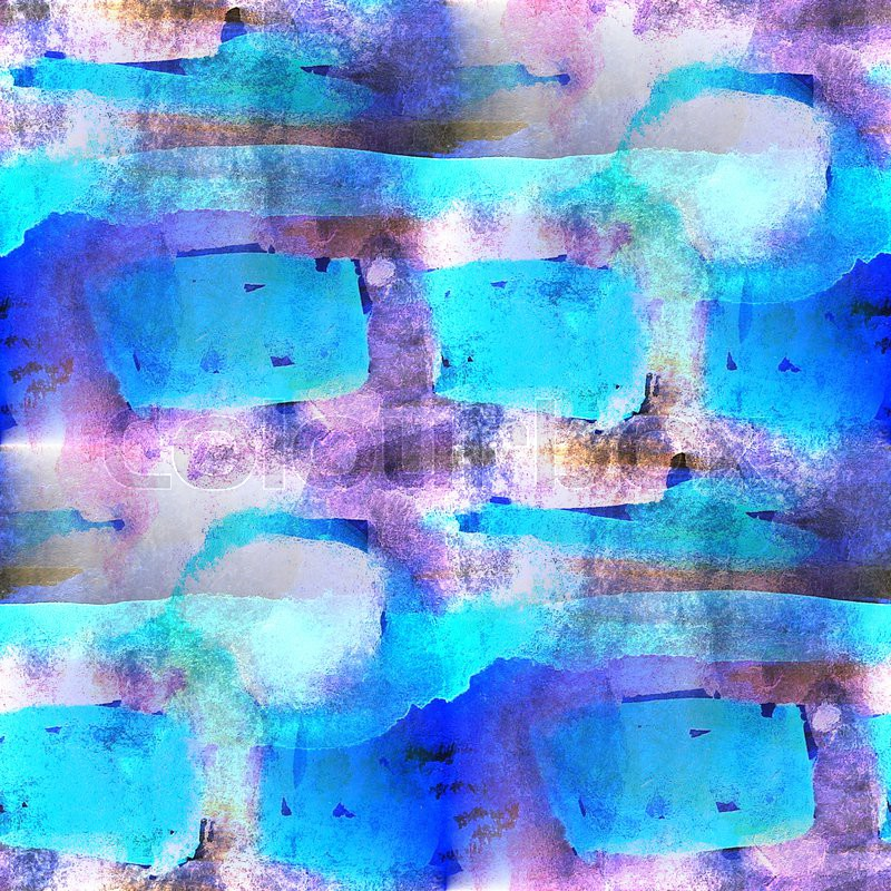 Palette purple, blue picture seamless ornament frame graphic textured style watercolor background, stock photo
