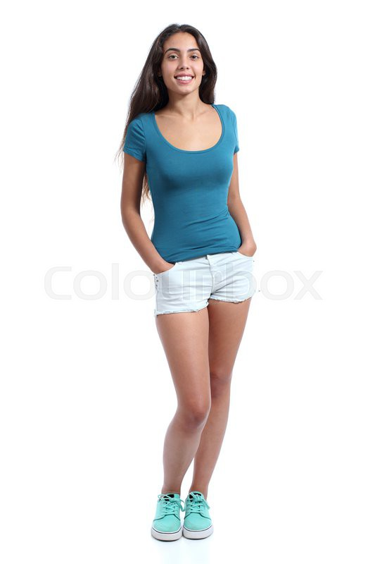full body of a standing pretty teenager girl isolated on a white