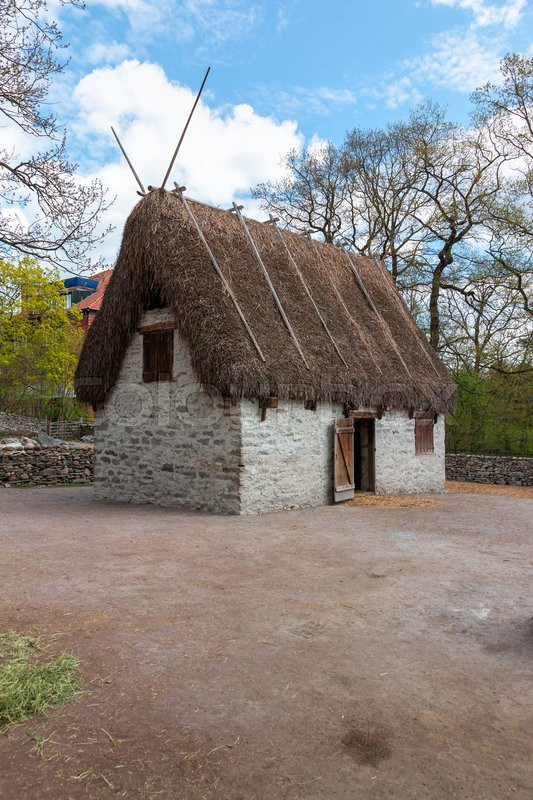 Traditional Old Viking Age House Hut In Stock Photo
