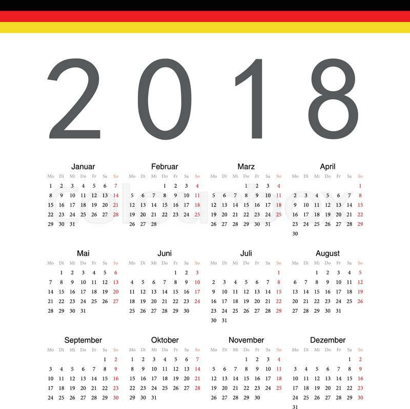 simple german 2018 year vector calendar week starts from monday stock vector colourbox