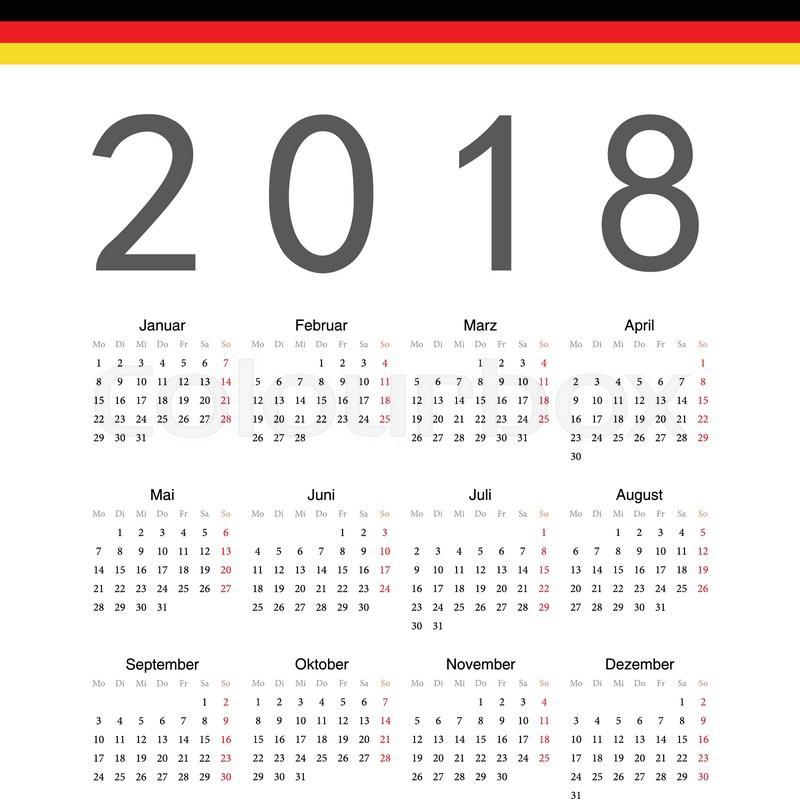 Simple German 2018 Year Vector Calendar Week Starts From