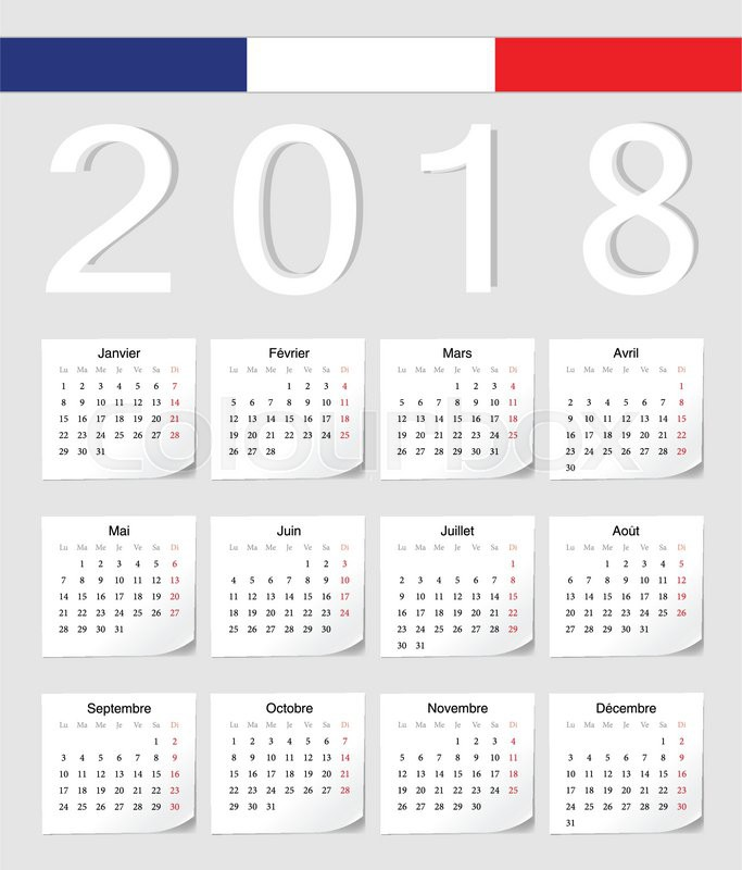 french 2018 vector calendar with shadow angles week starts from monday stock vector colourbox