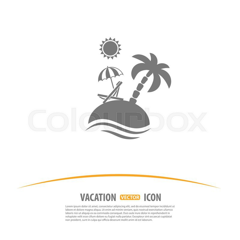 Travel, Tourism and Vacation Logo Design Template. Island with Palms ...