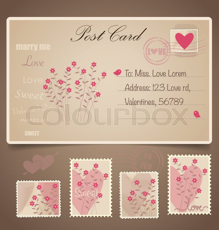 Stock Vector Of U0027Vintage Postcard Background And Postage Stamps   For  Wedding Card Design,