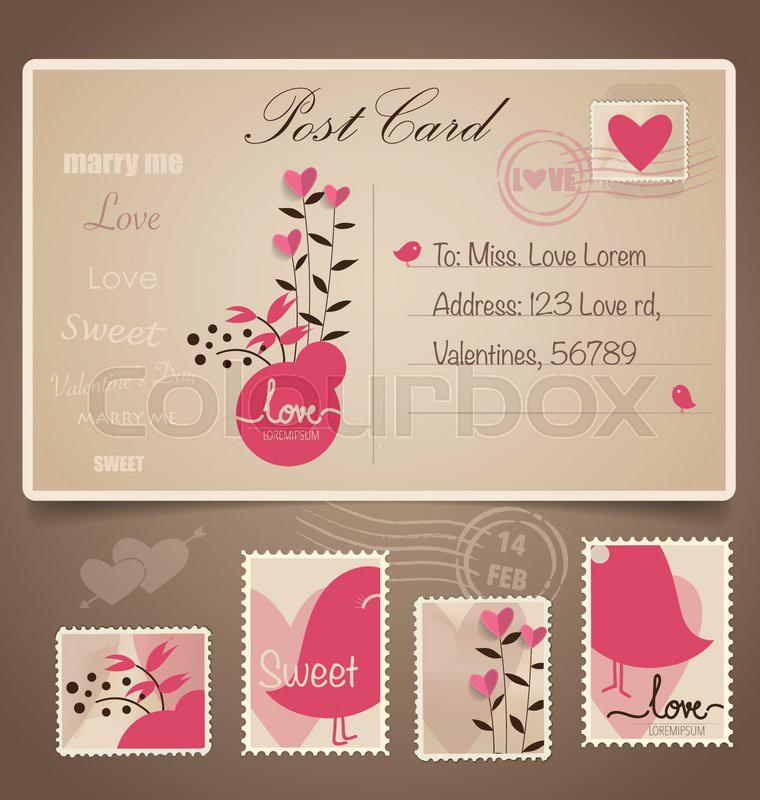 Vintage postcard background and Postage Stamps - for wedding card ...