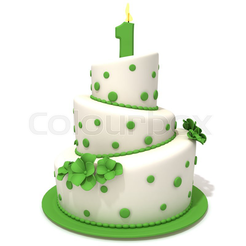 Birthday Cake With Number One 3d Illustration Stock Photo Colourbox