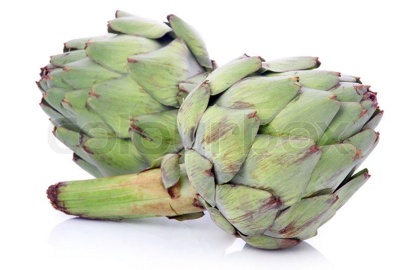 Ripe Green Artichoke Vegetables Isolated On White