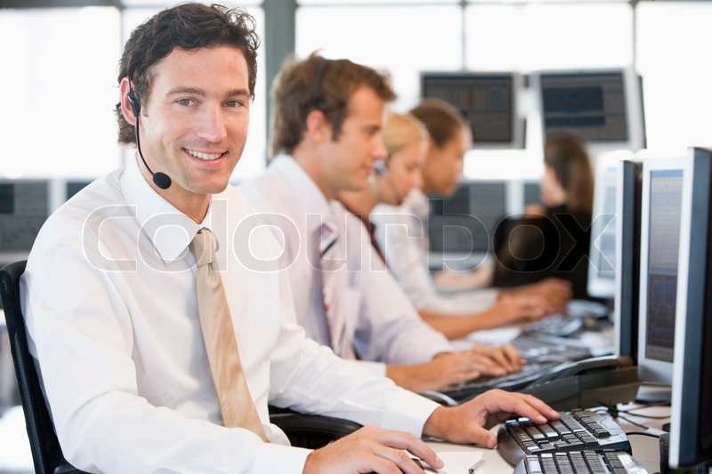 Stock image of 'office, computer, trader'