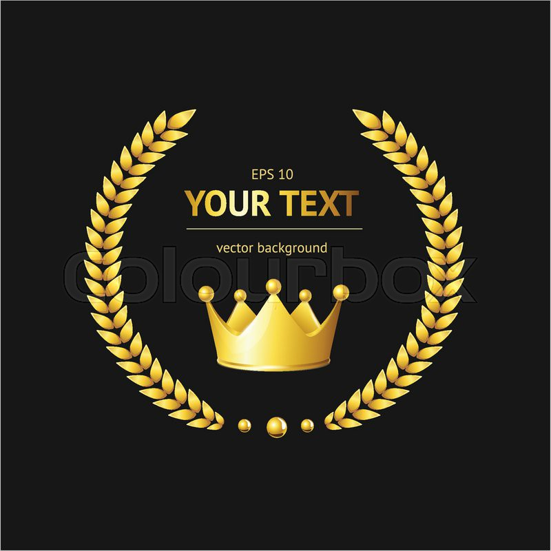 Gold Crown Background gold crown logo template on a black background ...
