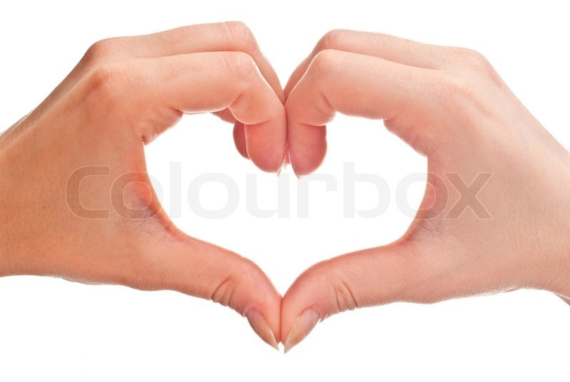 Stock image of 'Heart shape made of two woman's hands. Isolated on white'