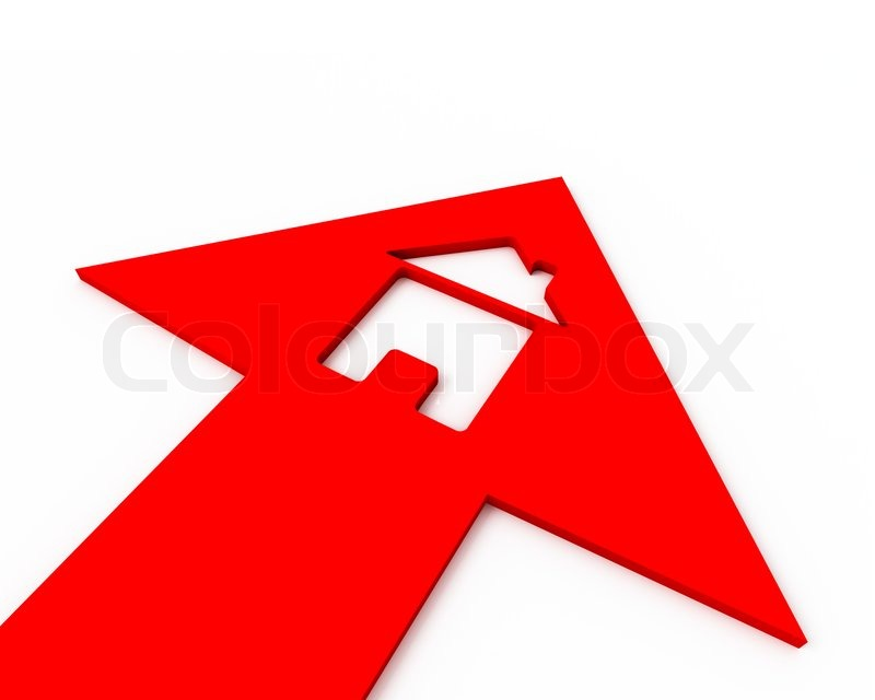 Icon Of A Small House Inside Of A Red Arrow. 3D Graphic