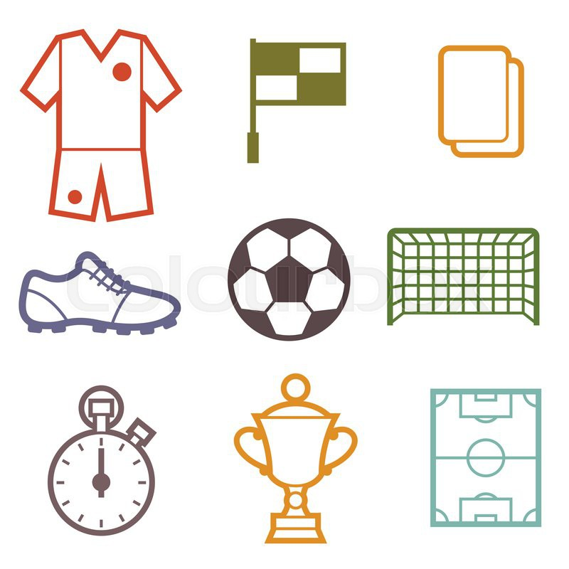 Set Of Sports Soccer Football Symbols In Flat Style Stock Vector