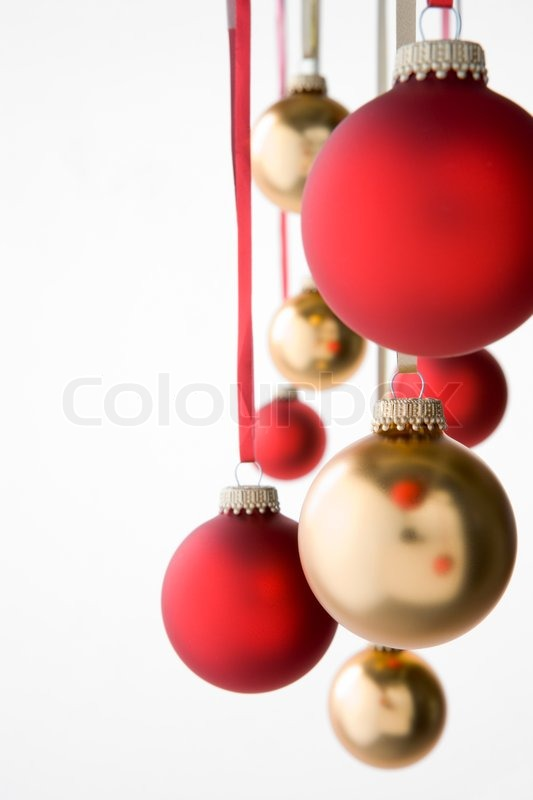 group of red and gold christmas decorations stock photo colourbox