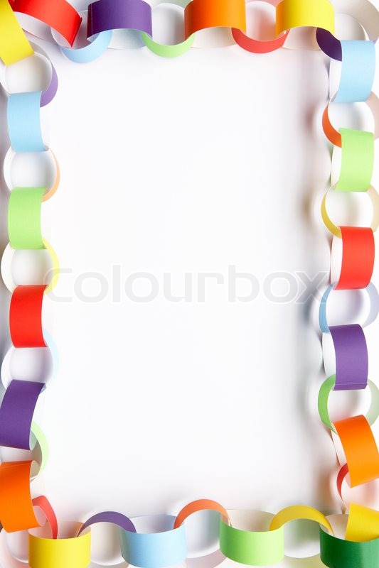 Stock image of 'Border made from colourful paper chain against white ...