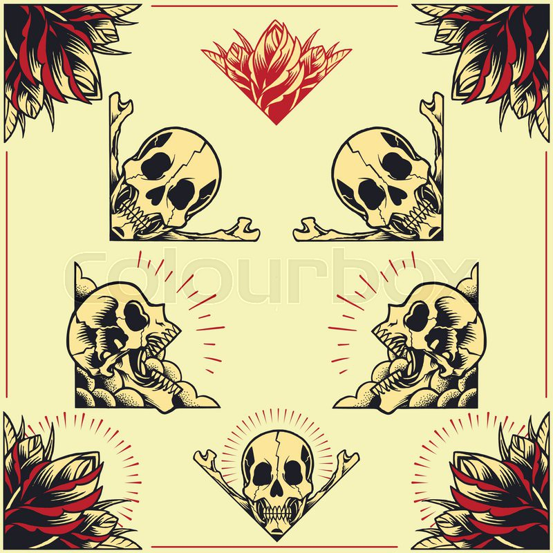 Skull and Rose Frames in old school tattoo style set 01. | Stock ...