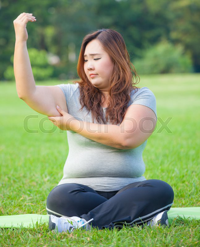 Young Asian Fat Woman Checking Her Arm Fat  Stock Photo -3313