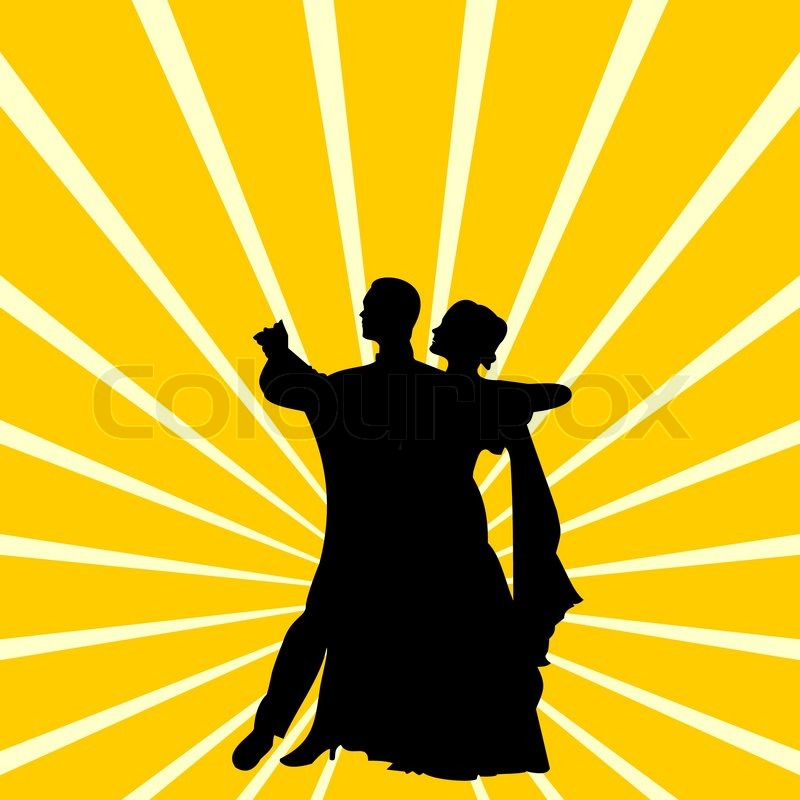 Vector Illustration Of Silhouette A Couple Dancing Waltz on Dance Steps Waltz Box