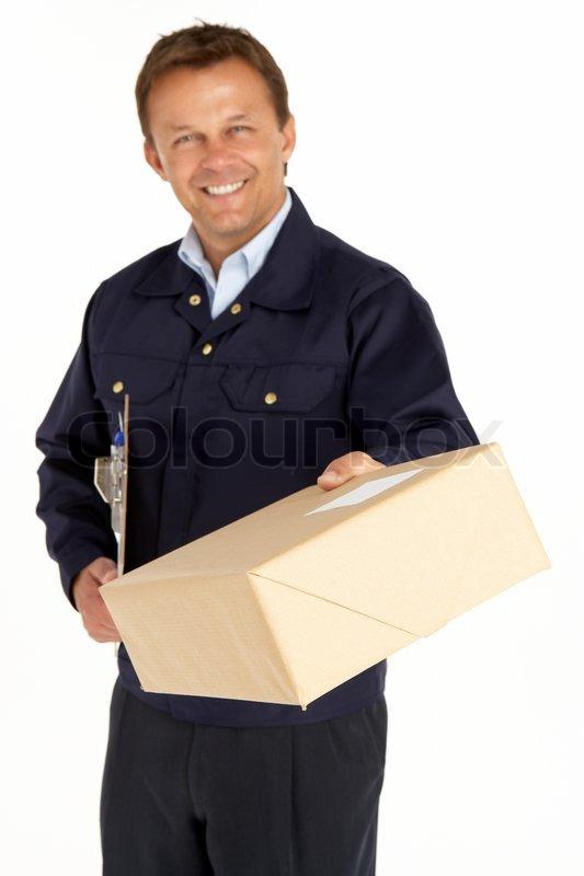 courier man delivering parcel smiling messenger reliability