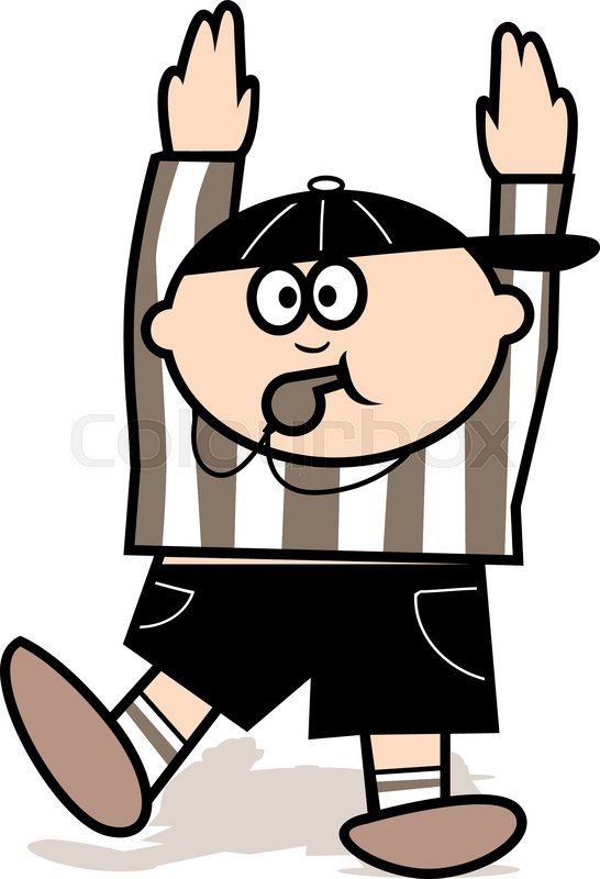 A cartoon football referee with his     | Stock vector