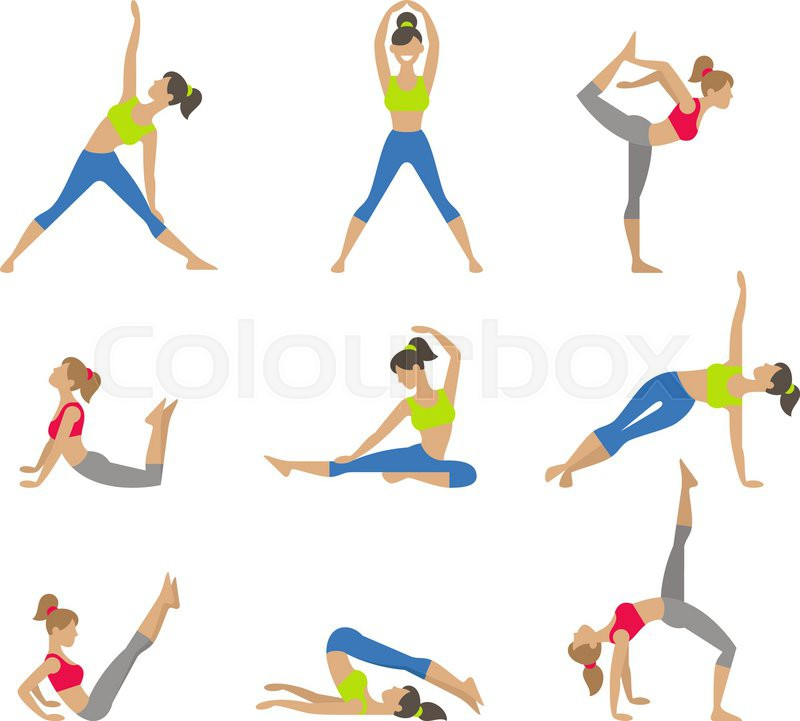Women Yoga Class Center Studio Poster Sketch With Asana Girl Does Exercises Healthy Lifestyle