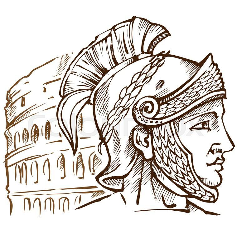 roman warrior on colosseum background stock vector