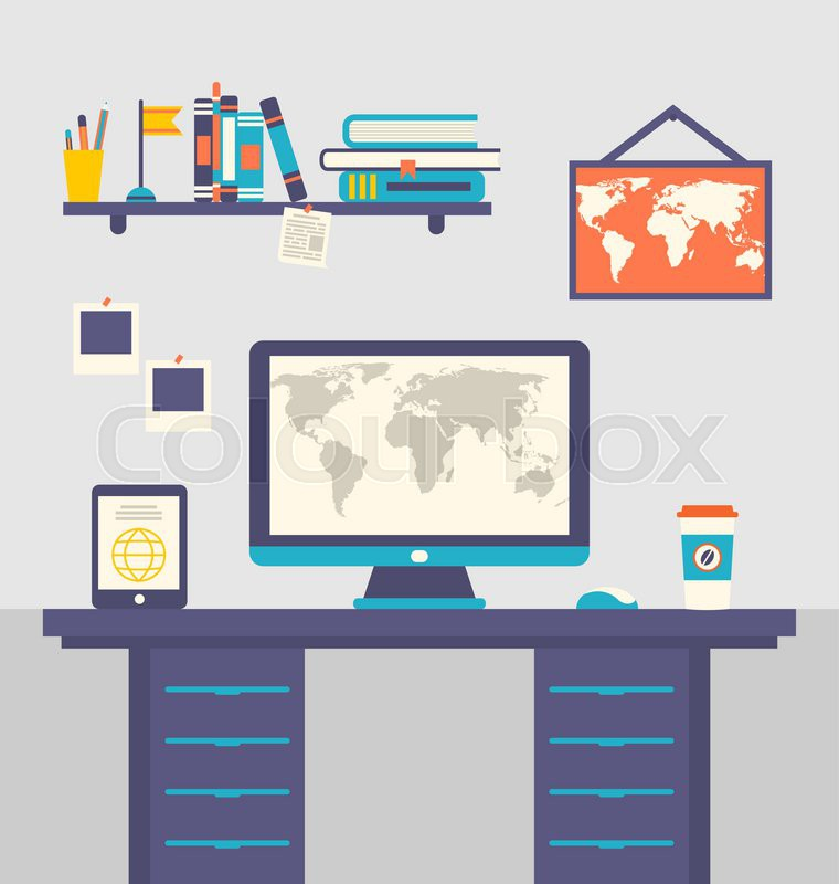 Illustration work place home interior, table, tablet pc, computer ...