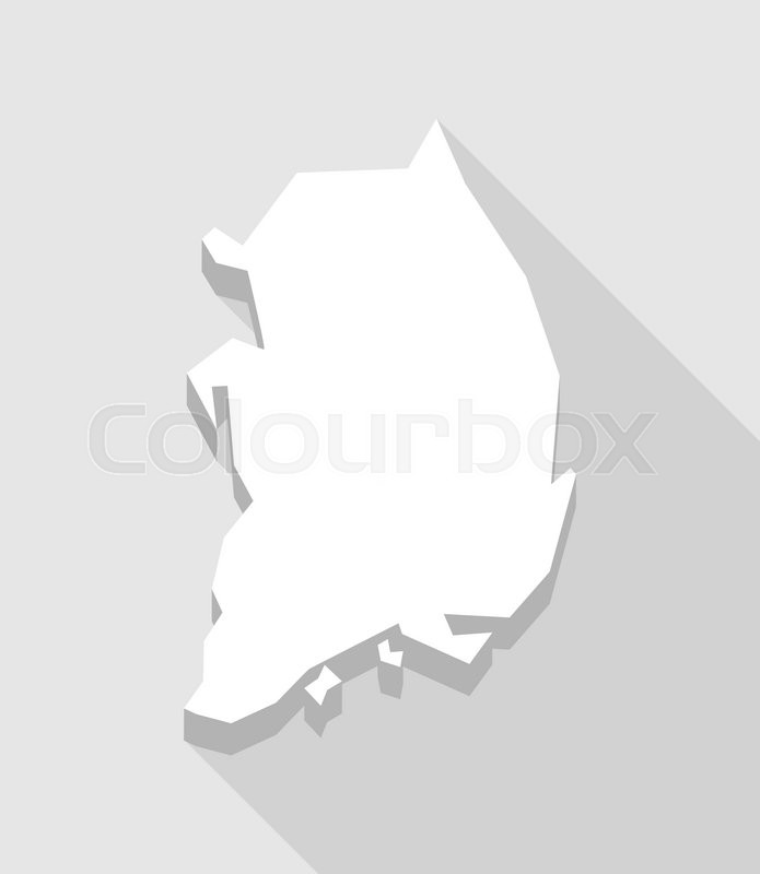 Illustration Of A Long Shadow South Korea Map Stock Vector - South korea map vector