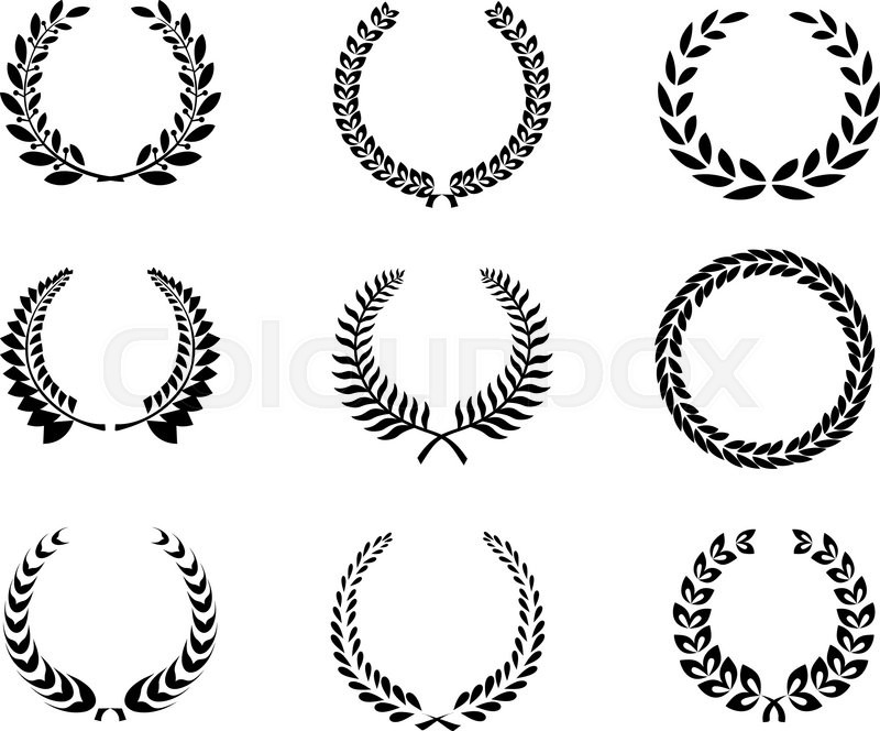 Set of black and white silhouette circular laurel foliate and wheat wreaths depicting an award - Moderne overwinning ...
