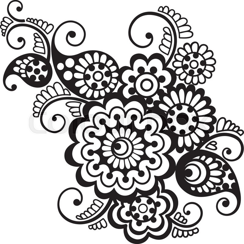 vector floral pattern element indian ornament henna style stock rh colourbox com vector flower pattern cdr vector flower pattern free