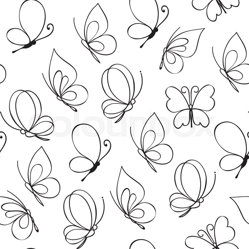 Line Drawing Butterfly Tattoo : Hand drawn simple butterfly pattern vector illustration