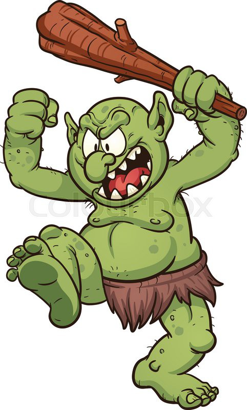 angry cartoon troll vector clip art illustration with simple